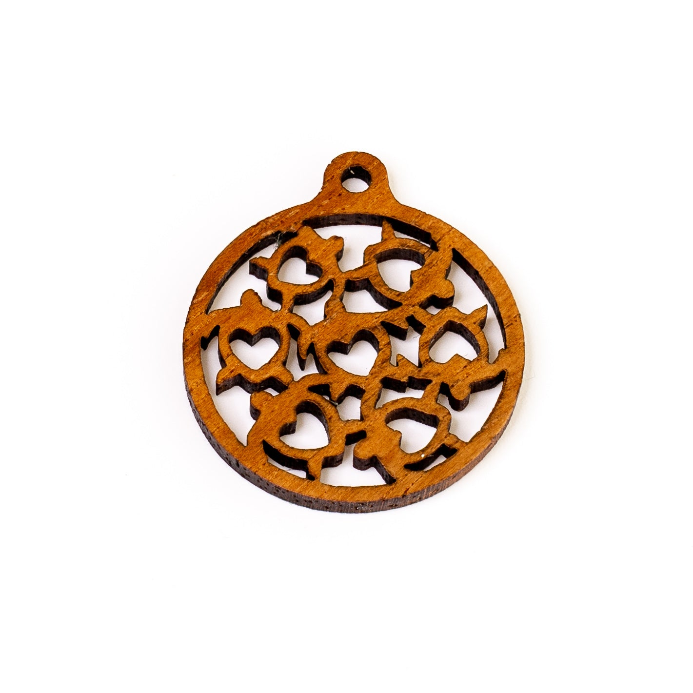 7 Heart Honu Solid Koa Charm - 1 pc.