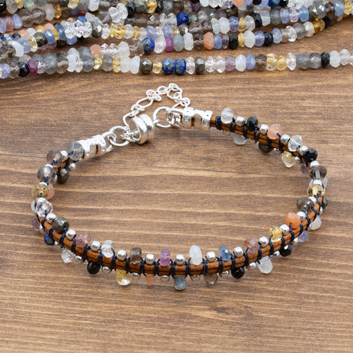 Mixed Gemstone Strand w/Sapphires - 3mm Faceted Rondelles