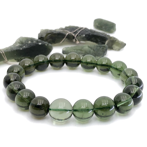 Moldavite Bead - 10.5mm Round (AUTHENTICIZED & RARE)
