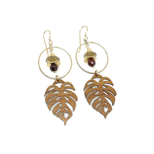 Monstera Leaf Koa Earrings with Citrine & Garnet
