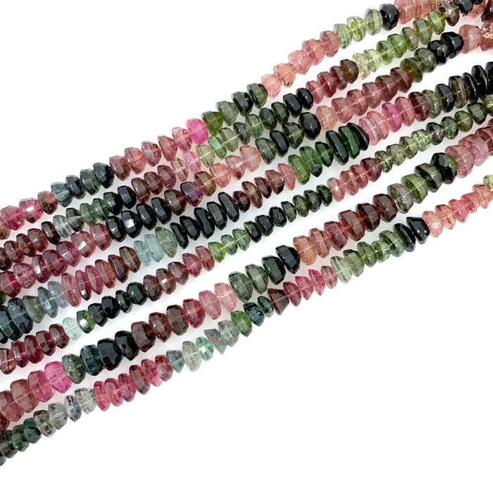 Multicolor Tourmaline Strand - Square Faceted Domes
