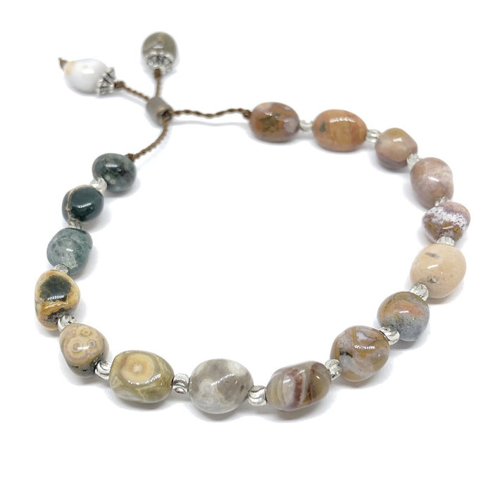 Ocean Jasper Silicone Slide Adjustable Bracelet KIT - Makes 2 bracelets!