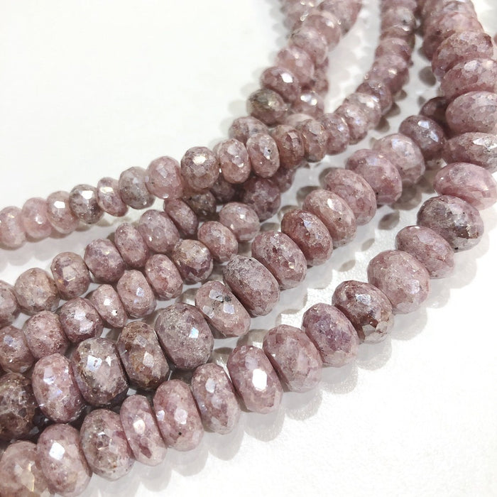 Pink Silverite Strand - 8mm Faceted Rondelle