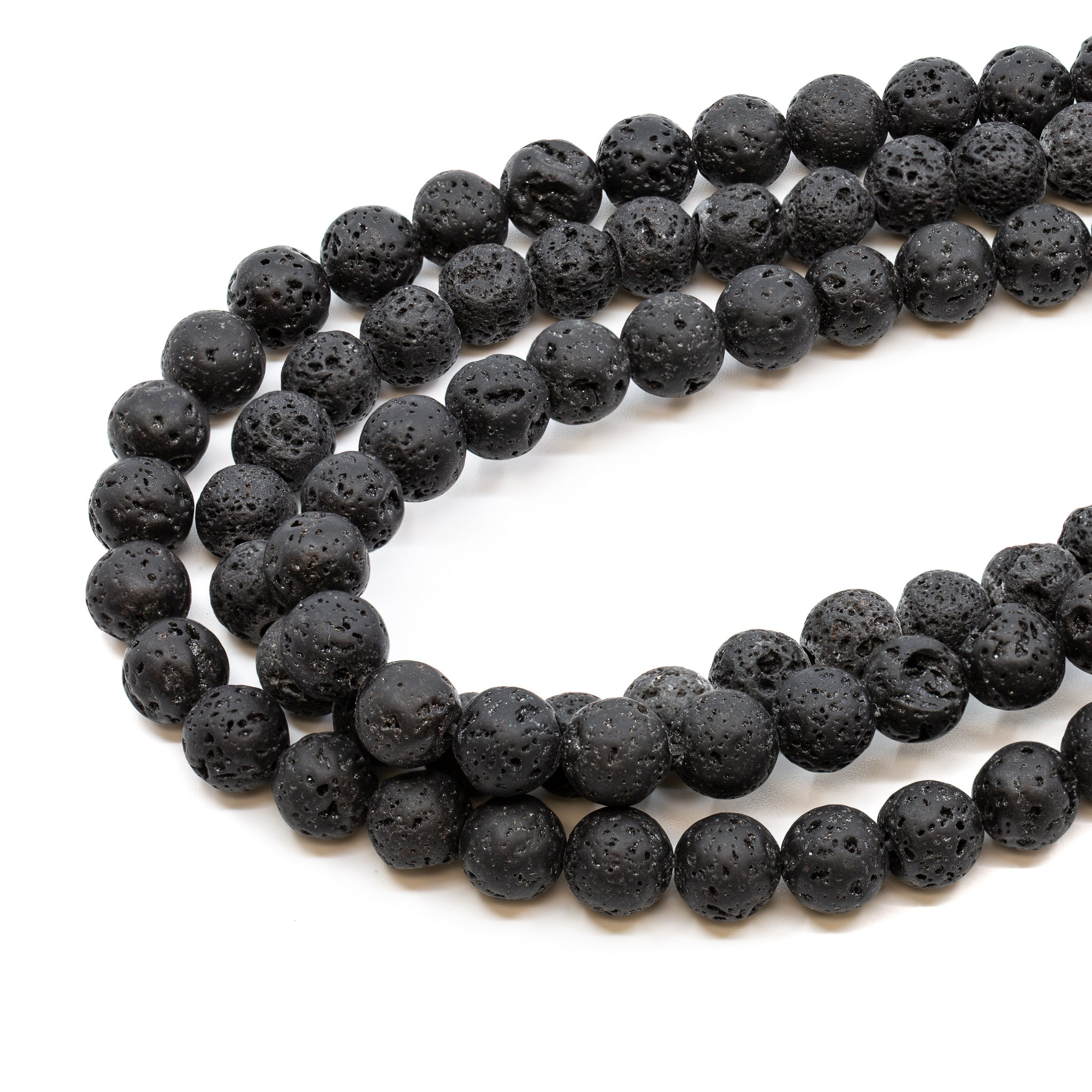 Black Lava Strand - 4mm Round