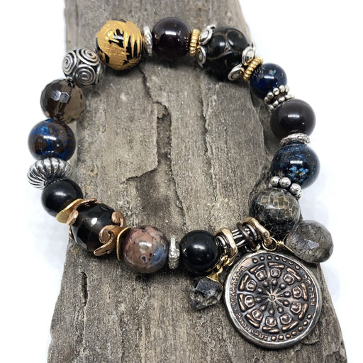 Prayer Coin Amulet Stretchy Cord Bracelet w/ Coily Bead
