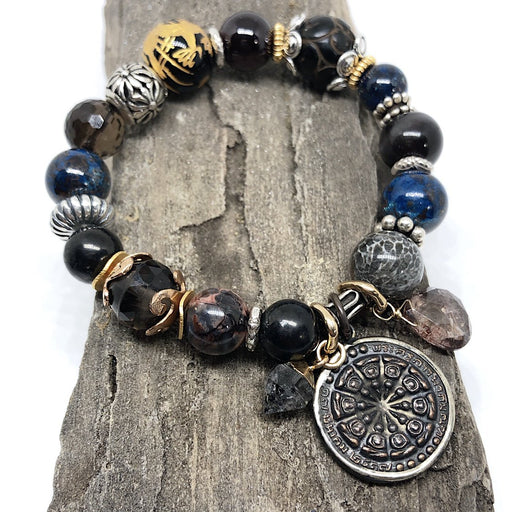 Prayer Coin Amulet Stretchy Cord Bracelet w/ Flower Bead