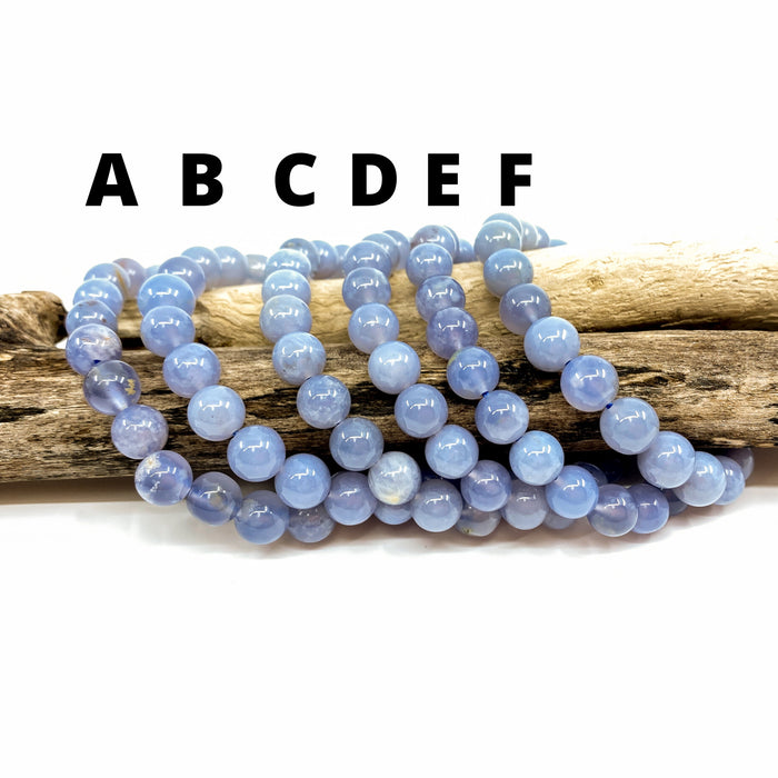 Blue Chalcedony Stretchy Cord Bracelet - 8mm Smooth Round
