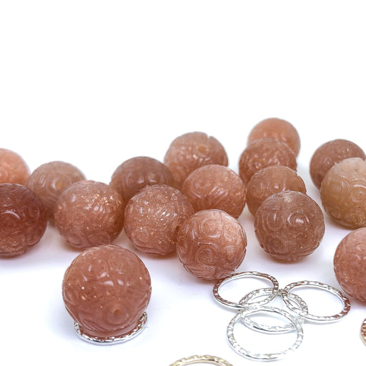 Carved Round Peach Sunstone Bead