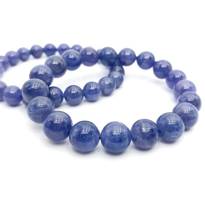 Tanzanite Stretchy Cord Bracelet - 7.5mm Smooth Round