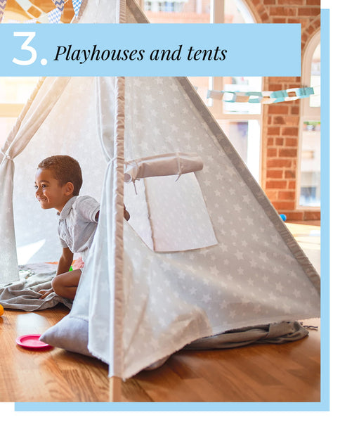 tips for organizing kids room - playhouses and tents