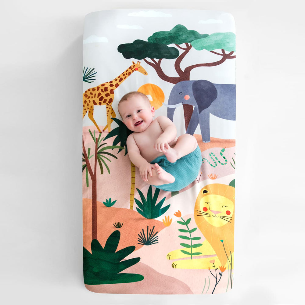safari crib sheet, safari nursery, animal nursery, jungle nursery, elephant crib sheet, safari crib sheet, giraffe crib sheet, giraffe, elephant, lion, lion crib sheet, lion nursery, lion baby