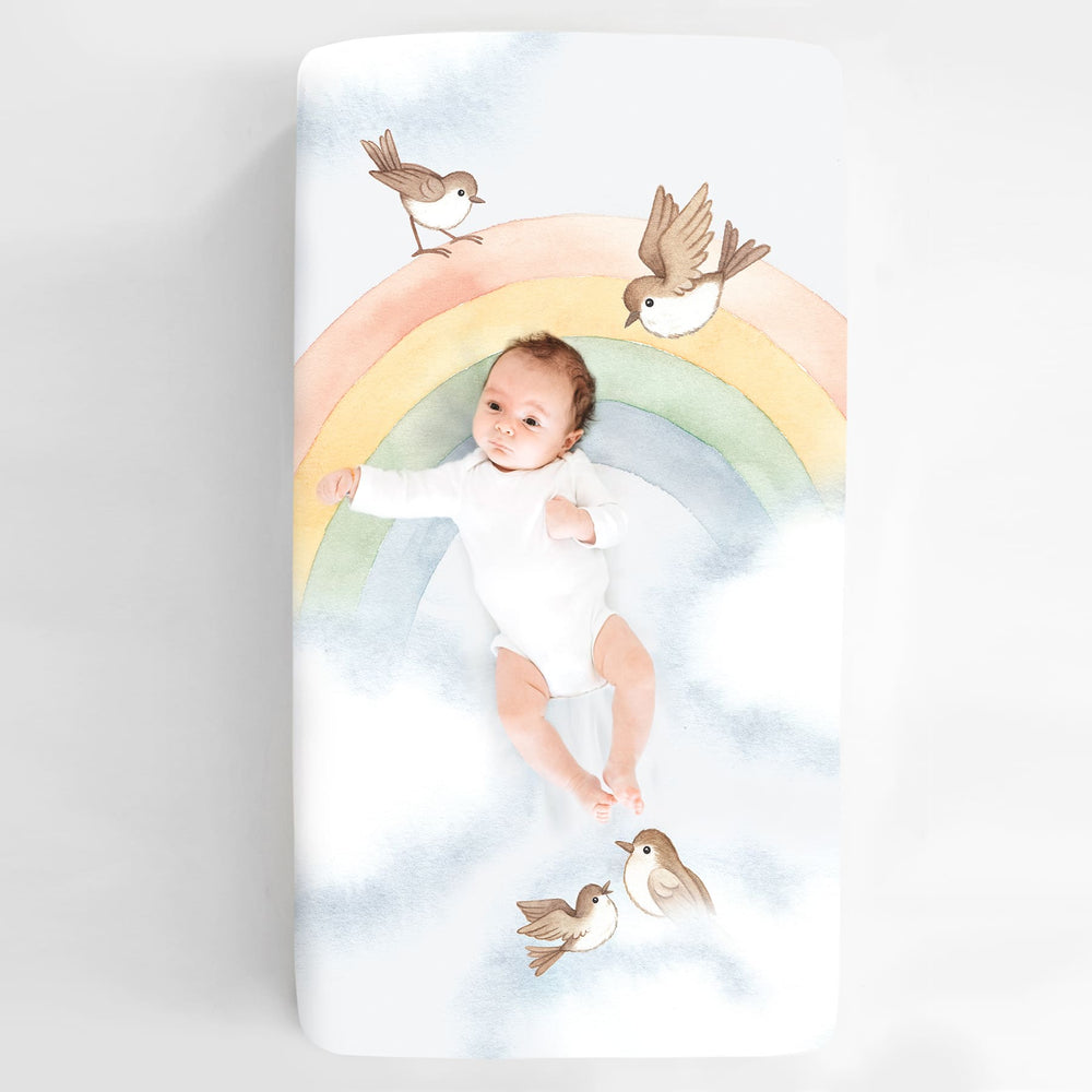 Rainbow and Birds Mini Crib Sheet