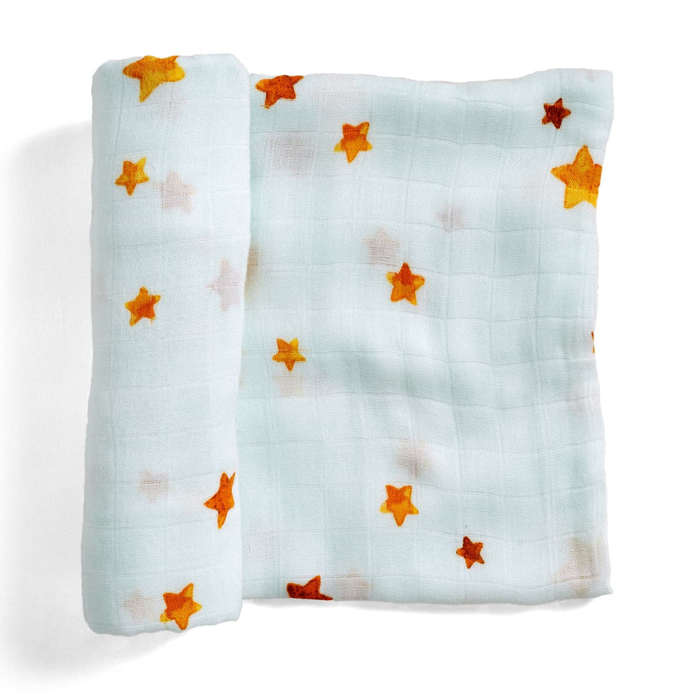 Light blue swaddle, watercolor stars swaddle, bamboo swaddle