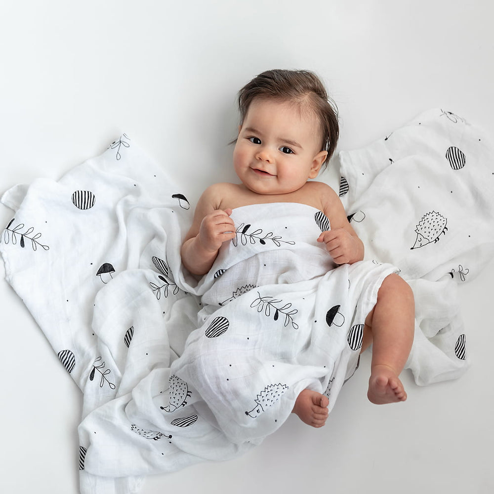 Softest baby swaddle, bamboo swaddle, hedgehogs acorns mushrooms, Rookie Humans