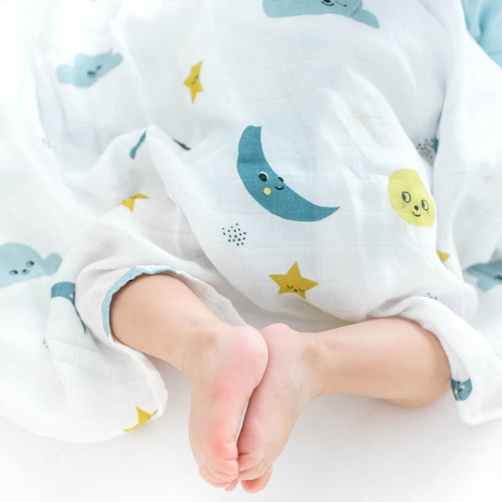 Moon and stars bamboo swaddle