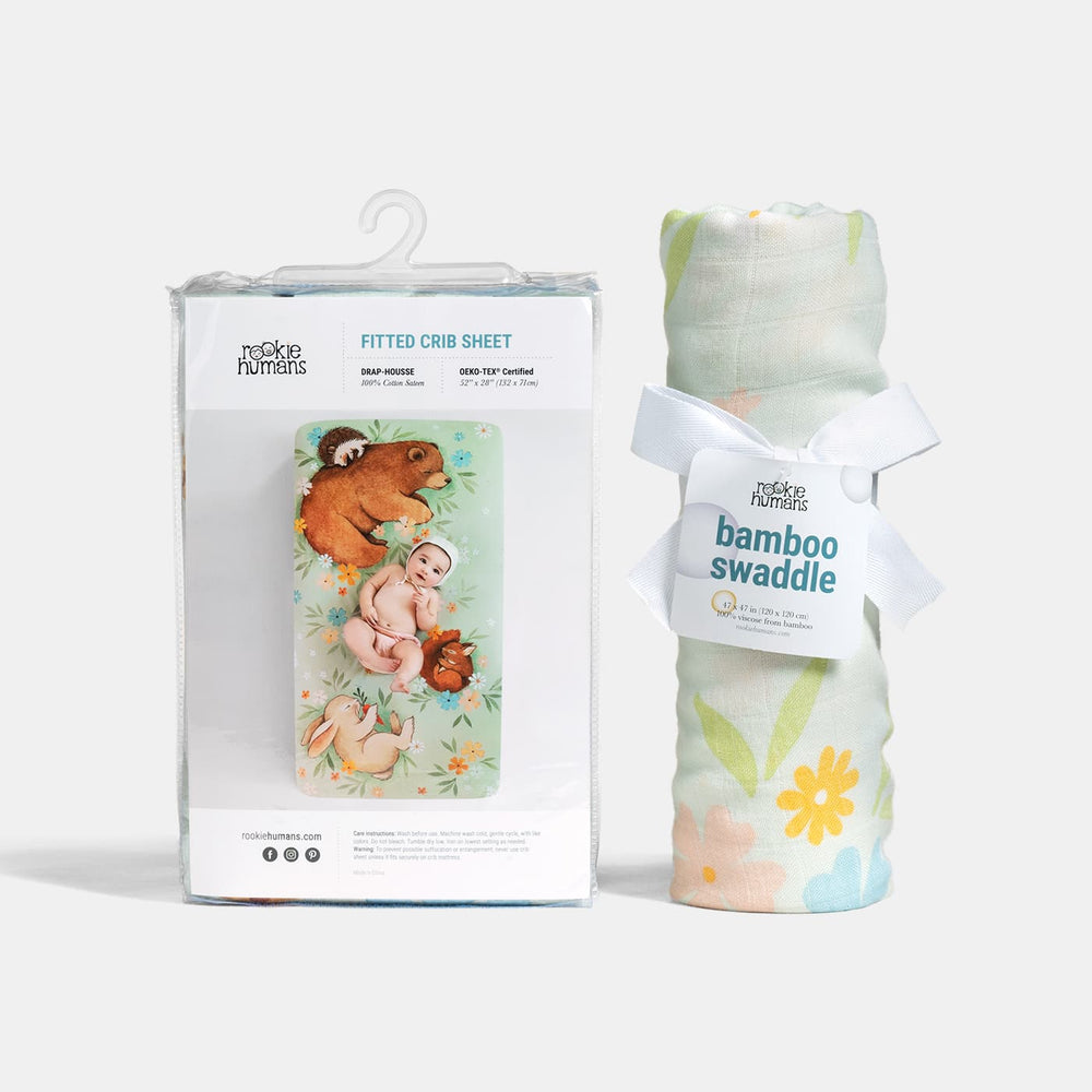 Crib sheet and Swaddle bundle - Enchanted Meadow