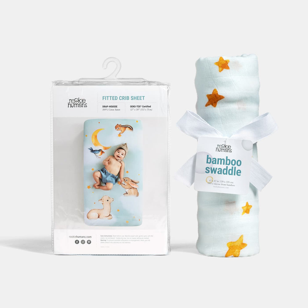 Backordered - ships 5/10 Crib sheet and Swaddle bundle - Goodnight Wonderland
