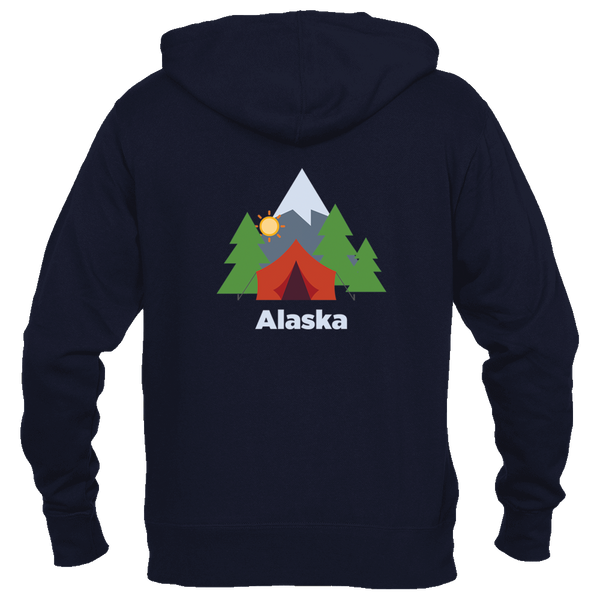Alaska Mountain Camping - Men's Full-Zip Hooded Sweatshirt/Hoodie