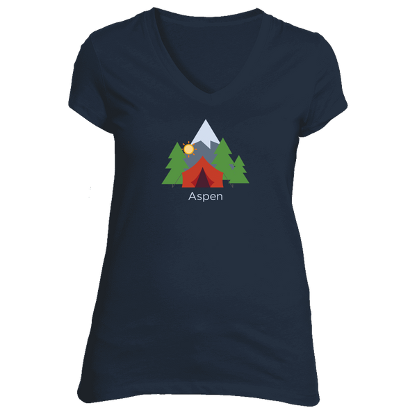 Aspen, Colorado Mountain Camping - Women's V-Neck T-Shirt
