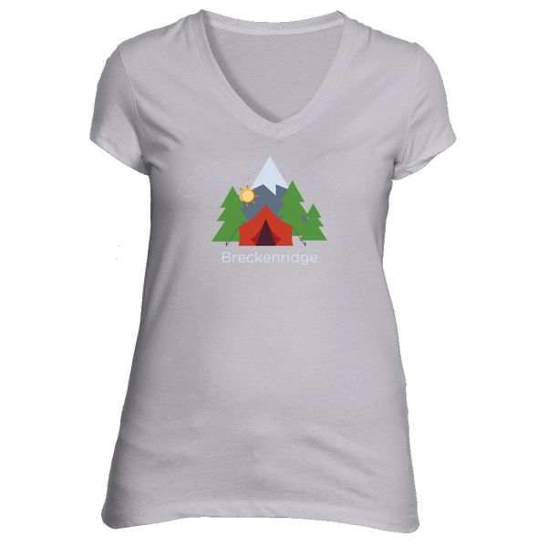 Breckenridge, Colorado Mountain Camping - Women's V-Neck T-Shirt