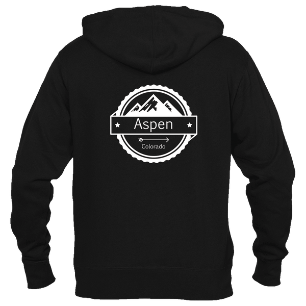 Aspen, Colorado Circle Three Peak - Men's Full-Zip Hooded Sweatshirt/Hoodie