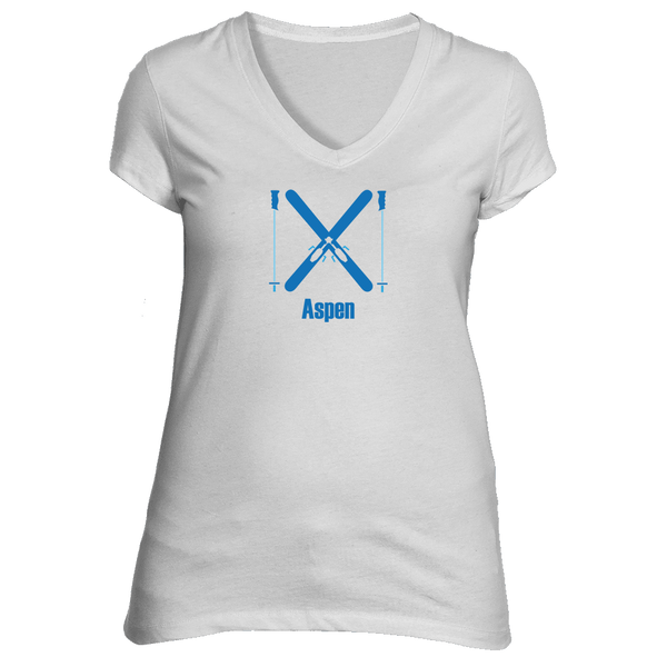 Aspen, Colorado Crossed Snow Skis - Women's V-Neck T-Shirt