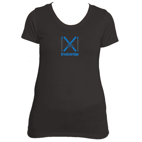 Breckenridge, Colorado Crossed Snow Skis - Women's Tri-Blend T-Shirt
