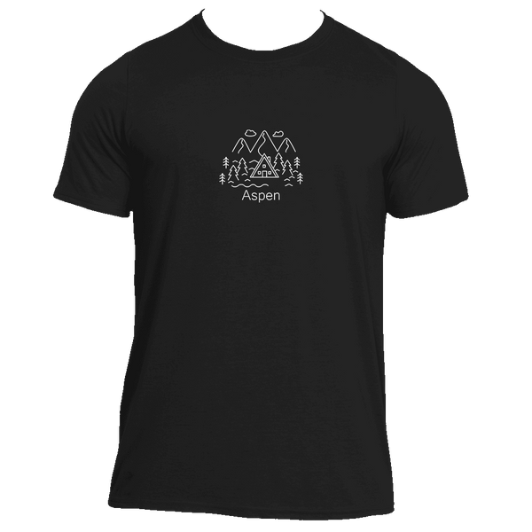 Aspen, Colorado Hand Drawn Mountain Setting - Men's Moisture Wicking T-Shirt