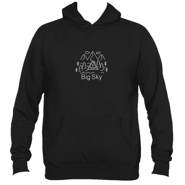 Big Sky, Montana Mountains and Clouds - Men's Hooded Sweatshirt/Hoodie