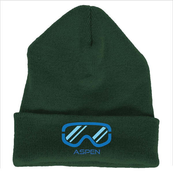 Aspen, Colorado Snowboard & Ski Goggles - Embroidered Knit Beanie