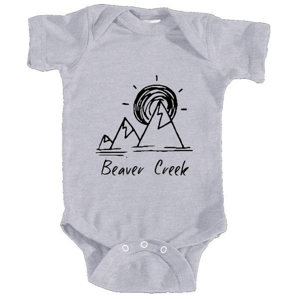 Beaver Creek, Colorado Mountain & Sunset Hand Drawn - Infant Onesie/Bodysuit