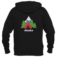 Alaska Mountain Camping - Women's Full-Zip Hooded Sweatshirt/Hoodie