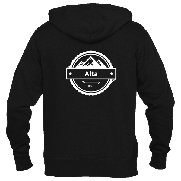 Alta, Utah Circle Three Peak - Women's Full-Zip Hooded Sweatshirt/Hoodie