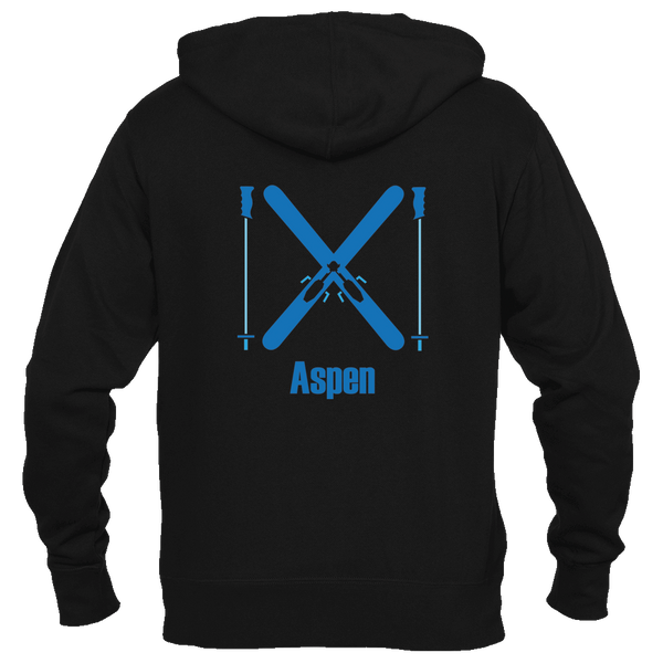 Aspen, Colorado Crossed Snow Skis - Men's Full-Zip Hooded Sweatshirt/Hoodie