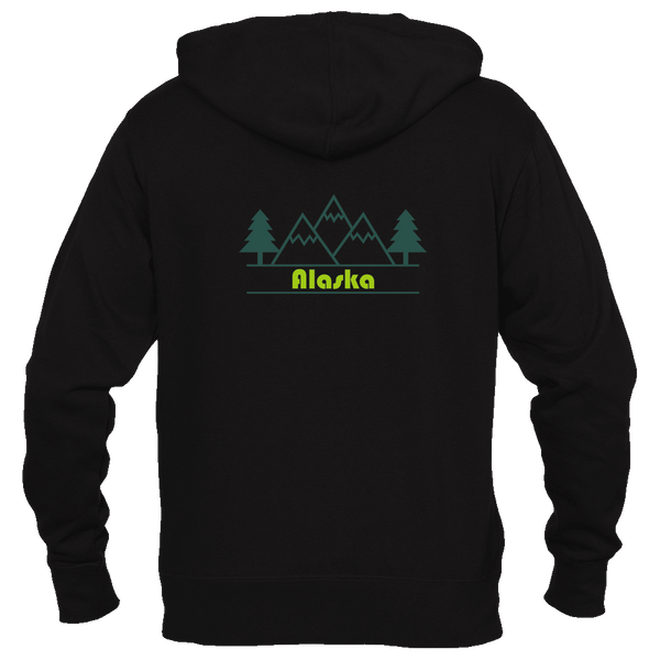 Alaska Mountain & Trees in Green - Women's Full-Zip Hooded Sweatshirt/Hoodie