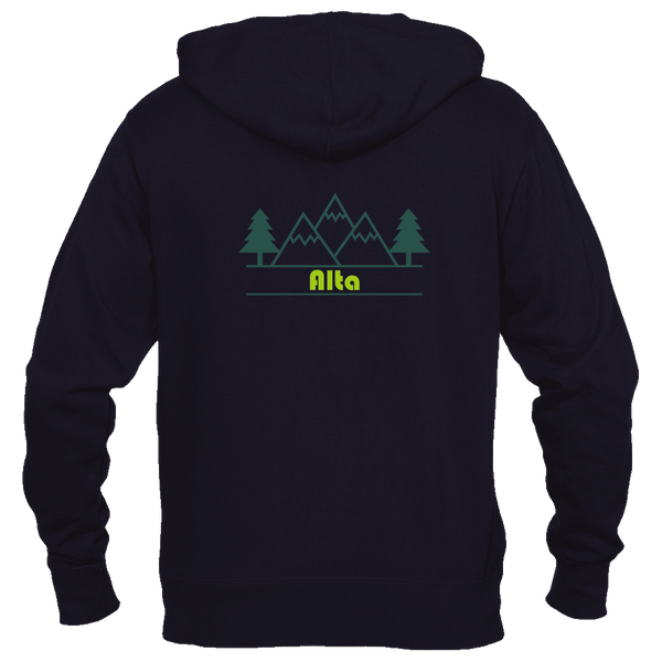 Alta, Utah Mountain & Trees in Green - Men's Full-Zip Hooded Sweatshirt/Hoodie