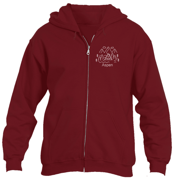 Aspen, Colorado Hand Drawn Mountain Setting - Men's Full-Zip Hooded Sweatshirt/Hoodie