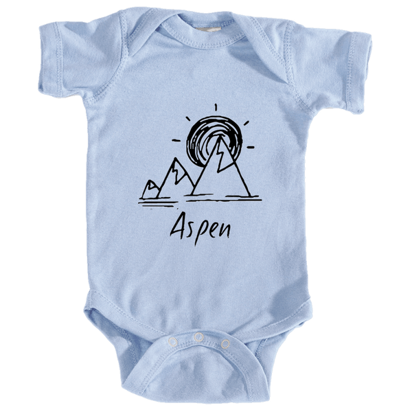 Aspen, Colorado Mountain & Sunset Hand Drawn - Infant Onesie/Bodysuit