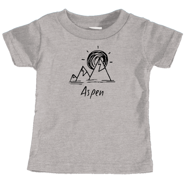 Aspen, Colorado Mountain & Sunset Hand Drawn - Infant T-Shirt