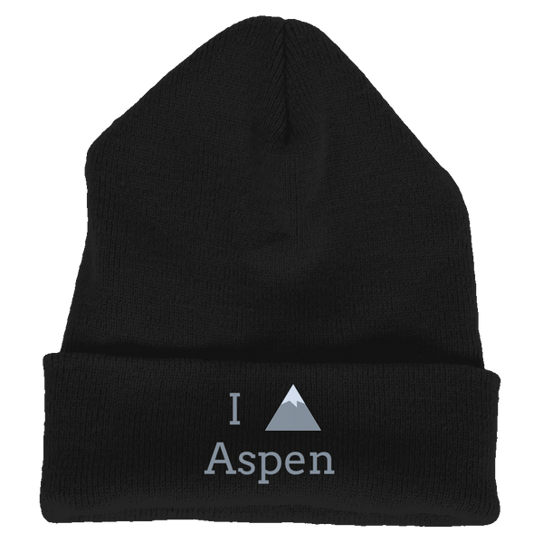 Knit Beanie - Aspen, Colorado I Heart/Love Mountain - Embroidered Knit Beanie