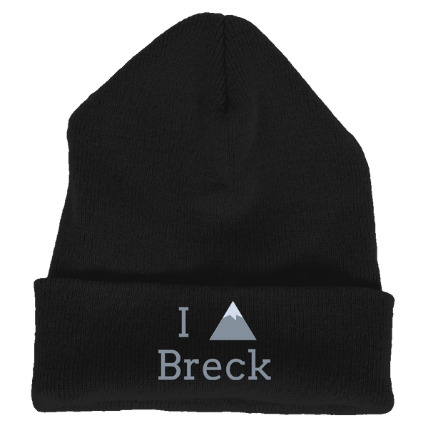 Knit Beanie - Breckenridge, Colorado I Heart/Love Mountain - Embroidered Knit Beanie