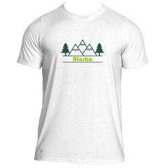Alaska Mountain & Trees in Green - Men's Moisture Wicking T-Shirt
