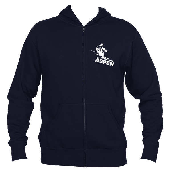 Aspen, Colorado Snow Skiing - Men's Full-Zip Hooded Sweatshirt/Hoodie
