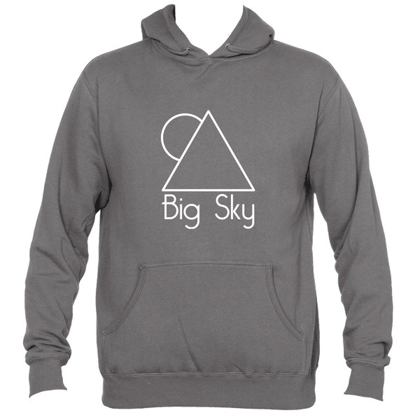 Big Sky, Montana White Minimal Mountain and Sun - Men's Hooded Sweatshirt/Hoodie