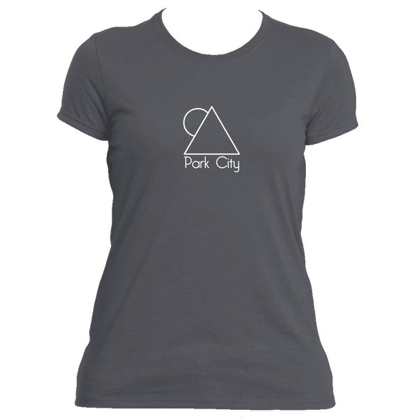 Park City, Utah Minimal Mountain Sun in White - Women's Moisture Wicking T-Shirt