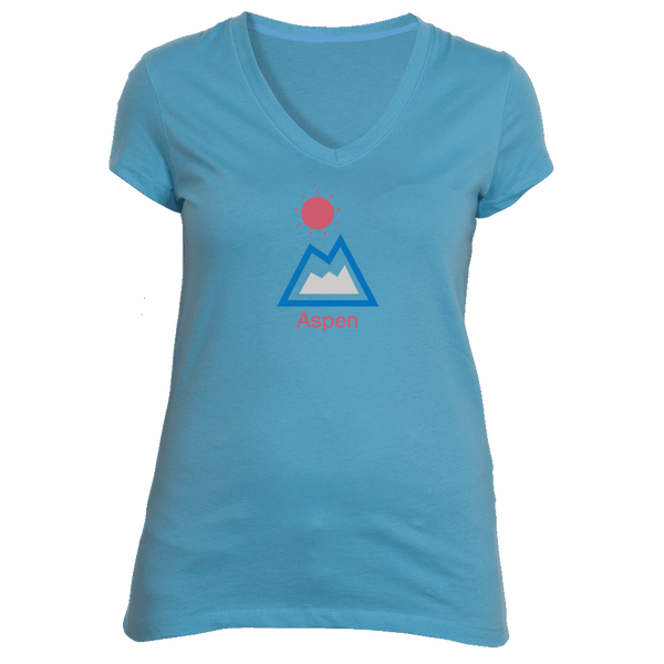 Aspen, Colorado Mountain & Sun - Women's V-Neck T-Shirt