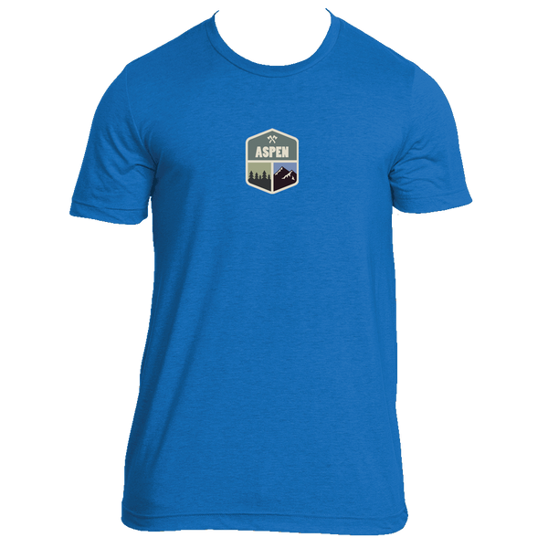 Aspen, Colorado Mountain & Trees Badge - Men's T-Shirt