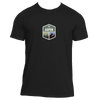 Aspen, Colorado Mountain & Trees Badge - Men's Moisture Wicking T-Shirt