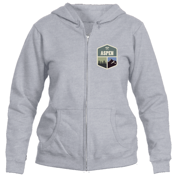 Aspen, Colorado Mountain & Trees Badge - Women's Full-Zip Hooded Sweatshirt/Hoodie