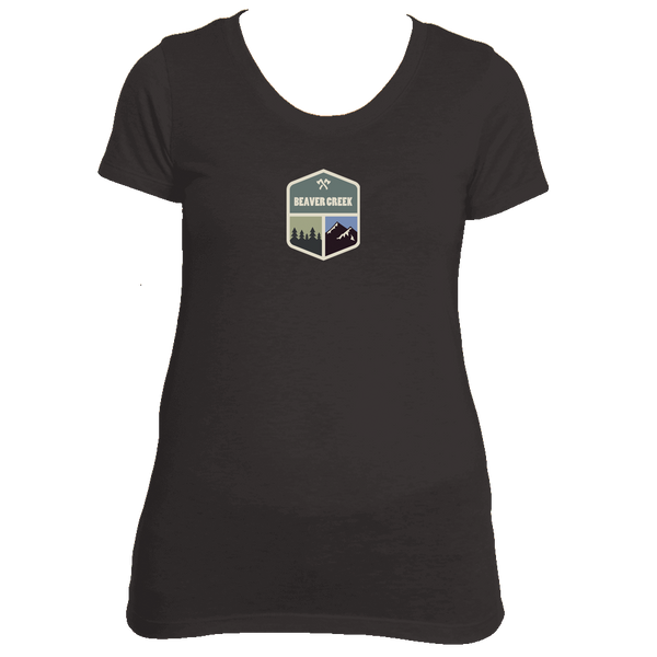 Beaver Creek, Colorado Mountain & Trees Badge - Women's Tri-Blend T-Shirt